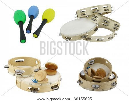 The image of maraca and tambourines under the white background