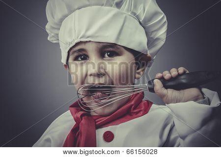 kitchen, child dress funny chef, cooking utensils