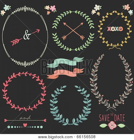 Chalkboard Laurel Wreath Wedding design elements