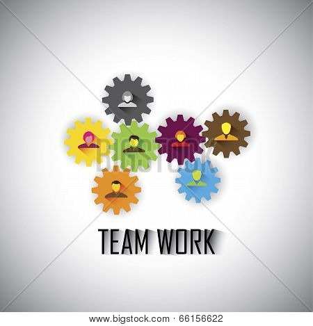 Team & Teamwork Of Corporate Employees & Executives - Concept Vector Graphic