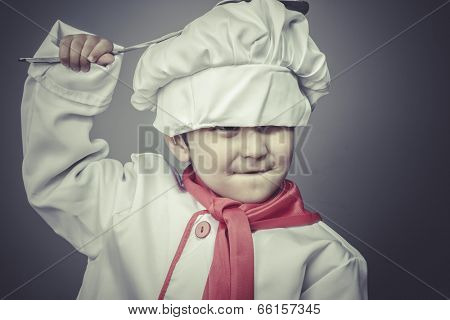 preparing, child dress funny chef, cooking utensils