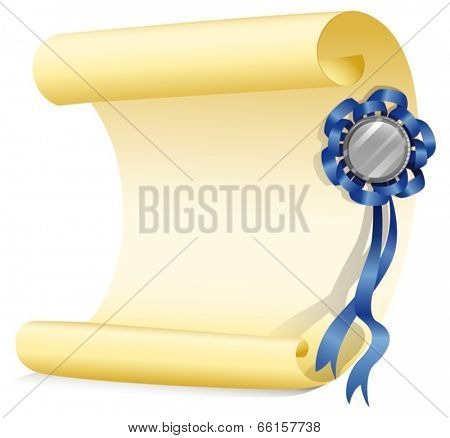 Illustration of an empty paper with a ribbon on a white background