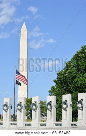 Washington DC - World War II Memorial and the Monument
