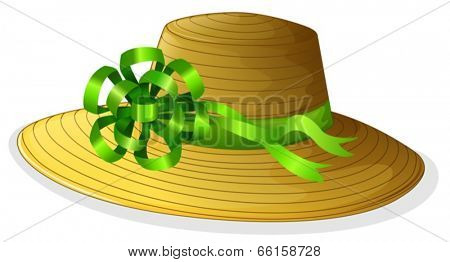 Illustration of a fashionable hat with a green ribbon on a white background