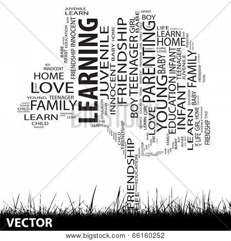 Vector concept or conceptual black education text word cloud or tagcloud as tree and grass isolated on white background
