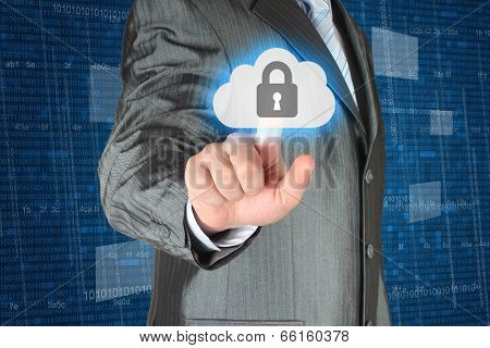 Businessman pushing virtual cloud security button