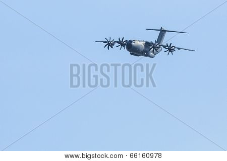 BERLIN, GERMANY - MAY 20, 2014: Four-engine turboprop military transport aircraft Airbus A400M (France) demonstration during the International Aerospace Exhibition ILA Berlin Air Show-2014.