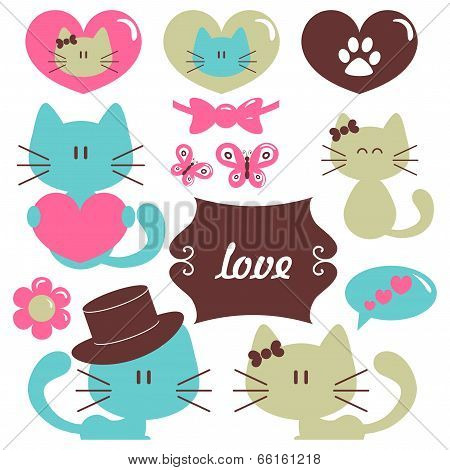 Cats In Love Romantic Vector Set Of Elements