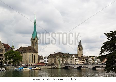 View Of Fraumunster And St. Peter Church, Zurich
