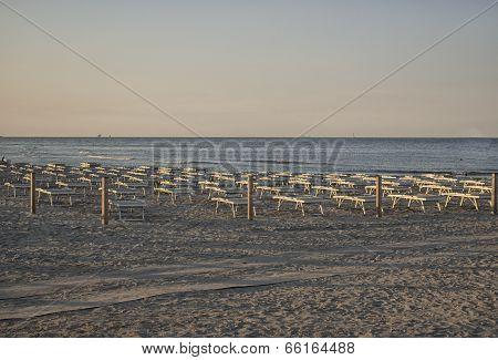 Deckchairs And Umbrellas On The Adriatic Coast