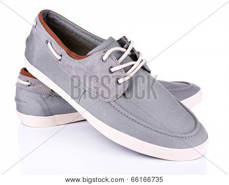 Gray men shoes isolated on white