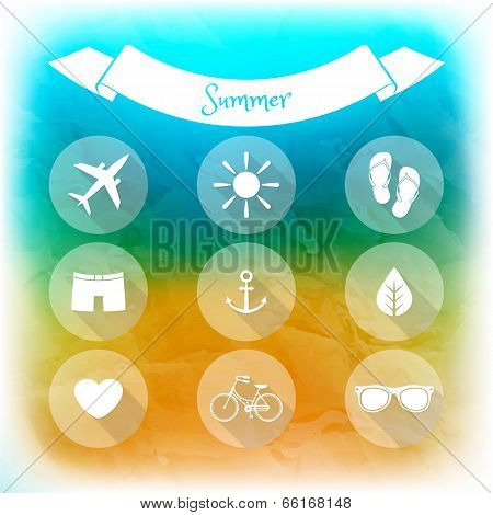 Summer Holidays, Set Of Flat Icons. Blurred Summer Background. Elements For Web And Mobile Interface