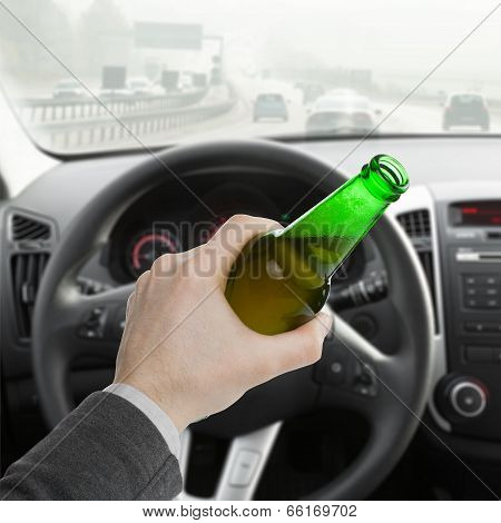 Man With Bottle Of Beer While Driving Car - 1 To 1 Ratio
