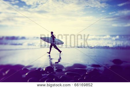 Lone Businessman by the Beach with Surfboard