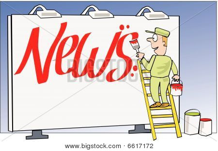Billboard news cartoon