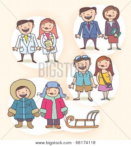 Vector Cartoon Characters Set