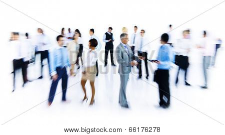Group Of Business People Working Blurred Motion Indoors