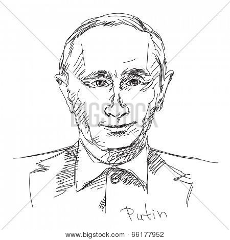May 02, 2014: Russian President Vladimir Putin. Hand drawn caricature sketch. Vector illustration.