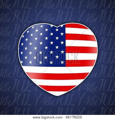 Heart with American flag for 4th July