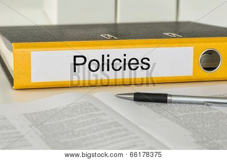 A yellow folder with the label Policies