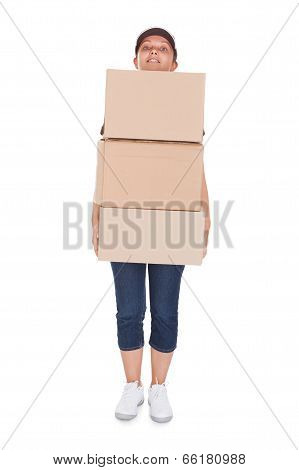 Woman Holding Stack Of Cardboxes