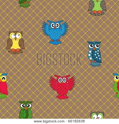 Multicolour Owl Seamless Pattern