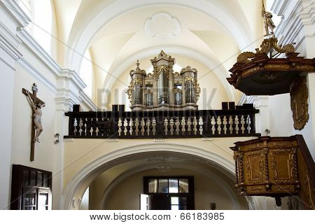 The pulpit and organ
