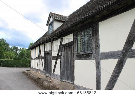 English medieval half-timbered church hall and ale house