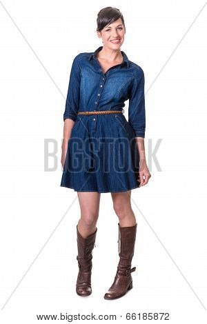 Happy Cute Brunette In Denim Dress