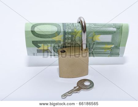 Euro bill with padlock