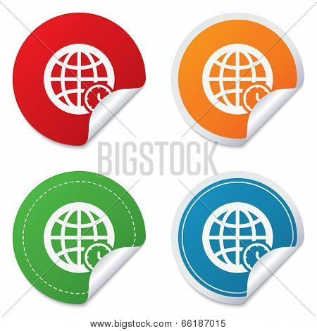 World time sign icon. Universal time symbol.