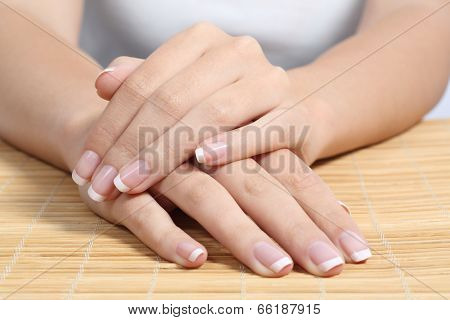 Beautiful Woman Hands And Nails With Perfect French Manicure