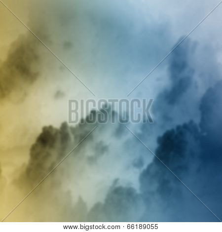 Background image of cloudy sky with lightning and rain