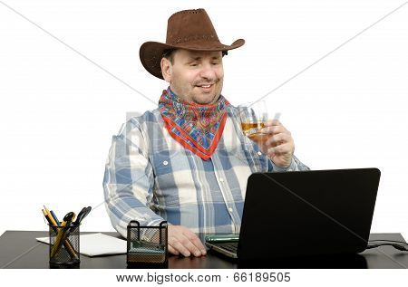 Cowboy Talking With Friends On Skype