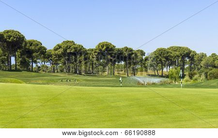 Golf Course Landscape With Fountain