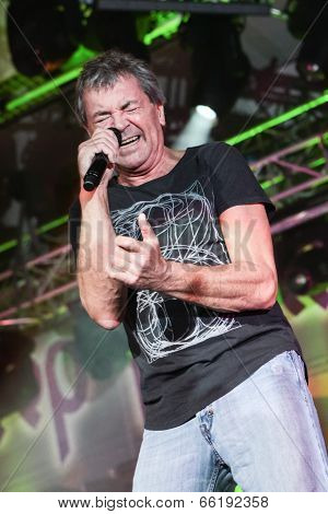 MINSK, BELARUS - MARCH 27, 2011: Deep Purple performs on stage during thier concert in Minsk