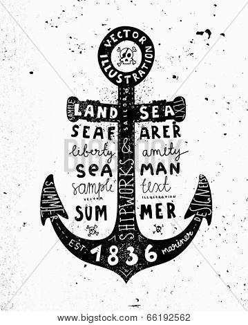 Black Anchor. Vintage Label, Concrete Wall Background. Typography Elements.
