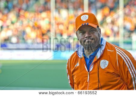 THE HAGUE, NETHERLANDS - JUNE 2: Max Caldas, the head coach of the Netherlands women field hockey squad looks tense just before the match between the Netherlands and Belgium at the World Cup Hockey