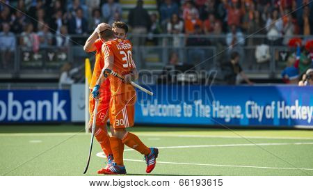 THE HAGUE, NETHERLANDS - JUNE 1: Dutch players van der Weerden and Kemperman celebrating a goal during the Hockey World Cup in the match between The Netherlands and Argentina (men). NED beats ARG 3-0