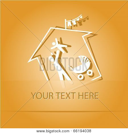 Family home. Paper sticker as bookmark. Vector illustration. Eps10.