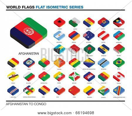 isolated world flags in flat colour on a white background, part of a series