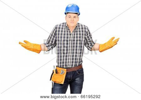 Confused male engineer gesturing with hands isolated on white background