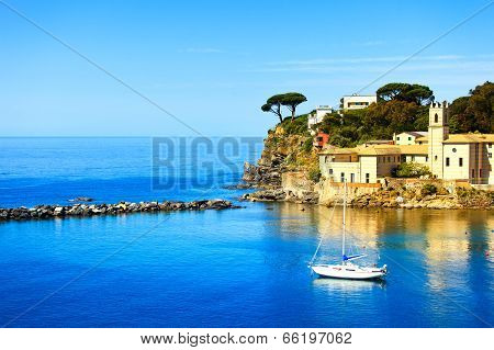 Sestri Levante, Silence Bay Sea Harbor And Trees On The Rocks. Liguria, Italy