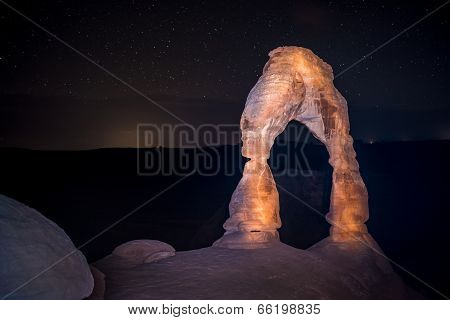 Delicate Arch At Night Against Beautiful Night Sky