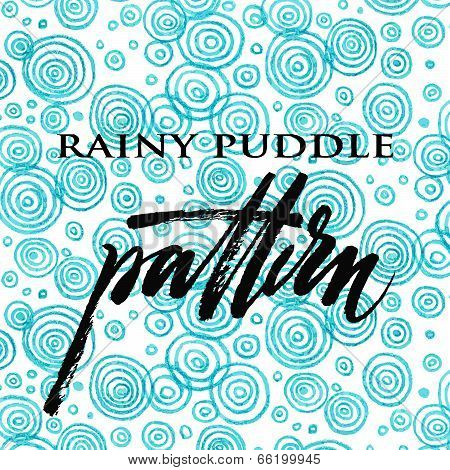 Abstract blue rainy puddle colored pencil pattern