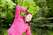 foto of mongolian  - Mongolian lady practising in the morning horizontal - JPG