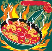 stock photo of stew  - Fiery hot stew with okra - JPG