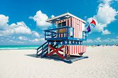 stock photo of south american flag  - Lifeguard hut in South Beach with an american flag design - JPG