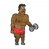 pic of weight lifter  - cartoon man lifting weights - JPG