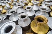 pic of water shortage  - Metal containers to carry water in Kathmandu - JPG